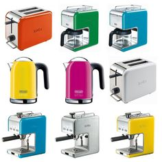 The DeLonghi kMix collection includes five products available in 8 eye-popping hues — green, magenta, blue, orange, yellow, red — as well as glossy black or white.