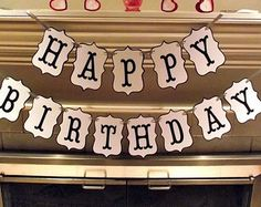 Happy Birthday Banner in Black and white, Modern Birthday, Boy Birthday, Girl Birthday, Black and white, Birthday Decorations,