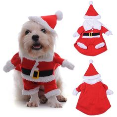 Yunt Pet Clothes Dogs Cats Puppy Santa Claus Costume Clothes for Christmas Eve Winter Costume Sweater with Hat -- Find out more details by clicking the image : Christmas for Cats