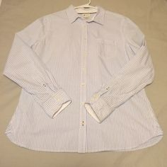 Striped Oxford Blouse Size Large, light blue and white striped Oxford shirt. Worn maybe 3-4 times, EUC. Machine washable. Stylus Tops Button Down Shirts