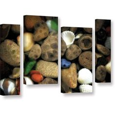 ArtWall Kevin Calkins Petoskey Stone Collage Iii 4-Piece Gallery-Wrapped Canvas Staggered Set, Size: 24 x 36, Brown