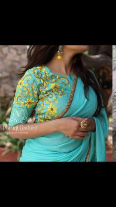 Saree Blouse Neck Designs, Fancy Blouse Designs, Bridal Blouse Designs, Fancy Sarees, Trendy Sarees, Salwar Designs, Designer Blouse Patterns, Embroidery Blouses, Embroidery Designs