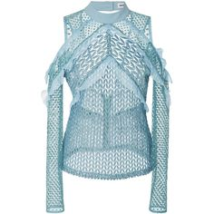 Self Portrait     Purl Knit Blouse (1.690 RON) ❤ liked on Polyvore featuring tops, blouses, blue, blue blouse, cold shoulder blouse, frilly blouse, cut out shoulder blouse and blue ruffle blouse