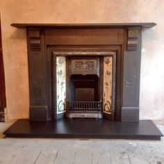 Original victorian slate surround, with victorian cast iron insert all fully…
