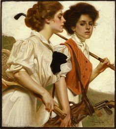 Gibson girls with the new sport of Golf for women, in America during the Gilded Age.