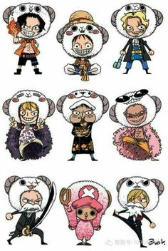 Ace, Luffy, Sabo, brothers, Corazon, Law, Doflamingo, Zoro, Chopper, Sanji, funny, cute, Going Merry, outfits, costumes, headgear, chibi, disguises, beards, moustaches; One Piece