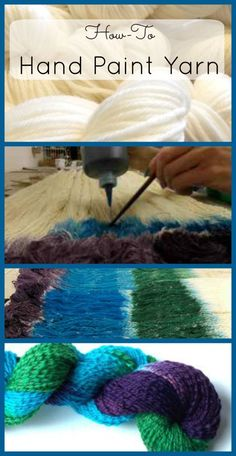 to Hand Paint Yarn - A Yarn Dyeing Tutorial Dyeing Yarn ~ Don't you just love unique, hand dyed yarn? Learn how to dye yarn with this easy hand painting technique.This This may refer to: Tie Dye Tutorial, Shibori, Diy Ombre, Wool Yarn, Knitting Yarn, Knitting Needles, Crochet Projects, Knitting Projects, Art Projects