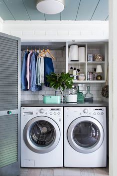 Ah, the laundry room. Since you spend quite a bit of time in there, you might as well make it look pretty. Whether your washer and dryer have its own room or live in a closet, take advantage of all... Small Laundry Closet, Laundry Closet Makeover, Laundry Nook, Small Laundry Space, Laundry Closet Organization, Ideas For Laundry Room, Small Utility Room, Ikea Laundry Room, Mudrooms With Laundry