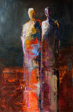 """Story Tellers"" by Shelby McQuilkin abstract figurative, contemporary art, vivid color,"