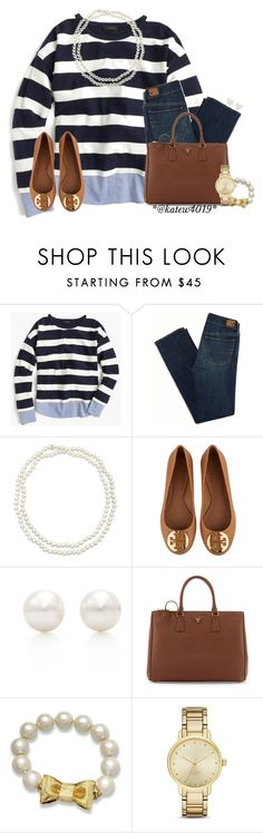 """""""Class never goes out of style.//Kate"""" by your-daily-prep ❤ liked on Polyvore featuring J.Crew, American Eagle Outfitters, Chico's, Tory Burch, Tiffany & Co., Prada and Kate Spade"""