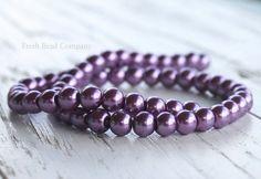 6 mm Pearls Glass Pearls 6 mm Glass Pearls Purple by FreshBeadsCo, $3.25