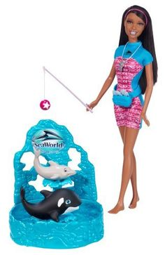 Barbie I Can Be... Sea World Trainer African-American Doll Playset by Mattel. $24.95. Collect all your favorite Barbie I Can Be dolls. Girls can play out the role of Sea World trainer. Wow the crowd with Barbie and her animal friends. Includes Barbie doll, whale and dolphin friends, waist pack, fish food, whistle and toy. Code inside each package unlocks career-themed content online. From the Manufacturer                Barbie I Can Be Sea World Trainer African-American Doll P...