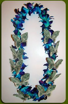 Single Orchid Butterfly Money Lei - Fresh Flower Lei - Exotic Leis for girls Money Lei, Money Origami, Origami Paper, Crafts To Do, Arts And Crafts, Flower Lei, Cactus Flower, Graduation Leis, New Baby Gifts