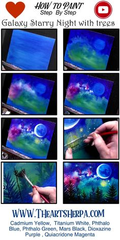 How to paint A Galaxy Stars and trees Step by step The Art Sherpa - - Galaxy Painting - Step By Step Acrylic Painting Tutorial Canvas Painting Tutorials, Easy Canvas Painting, Simple Acrylic Paintings, Acrylic Painting Techniques, Diy Canvas Art, Acrylic Art, Diy Painting, Moon Painting, Galaxy Painting Acrylic