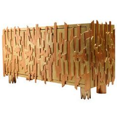 Sculptured Metal Gilded Cabinet by Pedro Baez, Mexico 1974