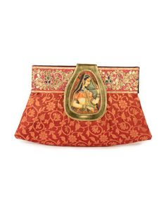 Rust-Red Brocade Clutch-Bag with Gota Leaves