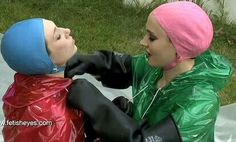 Blue & pink Swimming Funny, Swim Caps, Great Women, Rain Wear, Bathing, Raincoat, Women Wear, Female, Gloves