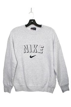 """Vintage Nike Sweater - grey Women Size M chest 38"""" length 24"""" sleeve 18"""" **This is an Authentic Vintage Item marks and color are a sign of its authenticity. Sold as is. L Train Vintage Clothing NYC :"""