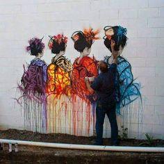 Street Art Asian Ladies in rainbow colors. Ruth chit chats to artist Jonny Arnold. 3d Street Art, Murals Street Art, Amazing Street Art, Art Mural, Street Artists, Amazing Art, Graffiti Art, Urban Graffiti, Arte Banksy
