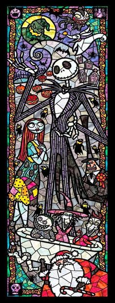 Nightmare Before Christmas stained glass cross stitch pattern