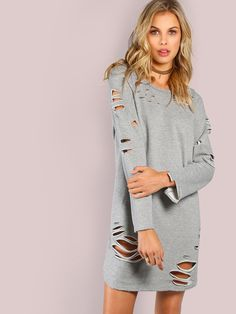 Shop Long Sleeve Grunge Tunic Dress GREY online. SheIn offers Long Sleeve Grunge Tunic Dress GREY & more to fit your fashionable needs.