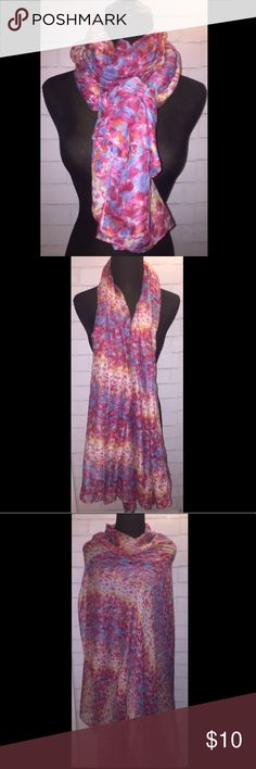 """EXPRESS Pink Floral Abstract Scarf EXPRESS Pink Floral Abstract Scarf  **PLEASE READ CAREFULLY** - Very Thin Delicate Material - There is a Small Hole On The Scarf - See Photo  - Pre-owned, Great Condition - From a Smoke-Free & Pet-Free Home - Pink, Periwinkle Blue, Yellow, Tan, Abstract Floral Pattern - Lightweight Material - 42"""" Width - 73"""" Length Express Accessories Scarves & Wraps"""