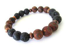 Tibetan Agate and Lava Rock Men's Bracelet by RockAndHardware