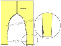 """5.Fold the unstitched bottom place by ¼"""" inside and fold again ¼"""" then sew along the line. Attach hooks each side of both leg bottom side openings respectively to close the edge after wearing."""
