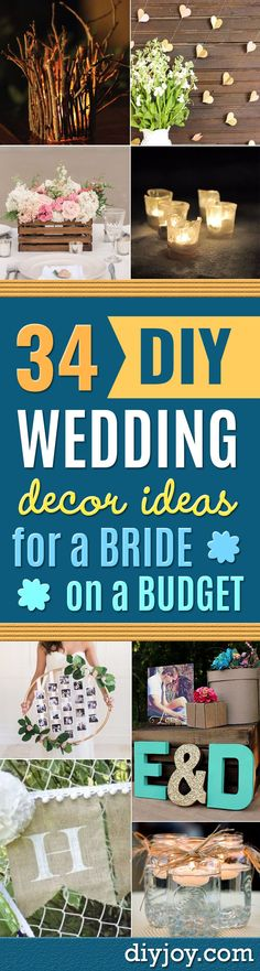 DIY Wedding Decor - Easy and Cheap Project Ideas with Things Found in Dollar Stores - Simple and Creative Backdrops for Receptions On A Budget - Rustic, Elegant, and Vintage Paper Ideas for Centerpieces, and Vases http://diyjoy.com/cheap-wedding-decor-ideas #weddingdecoration