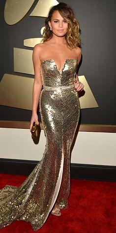 Chrissy Teigen and John Legend - Red Carpet Arrivals - Grammy Awards 2014 - Celebrity - InStyle