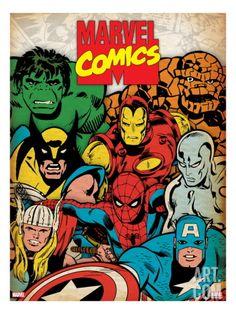 Marvel Comics Retro: Hulk, Thor, Spider-Man, Wolverine, Captain America, Iron Man and Silver Surfer Art Print at Art.com
