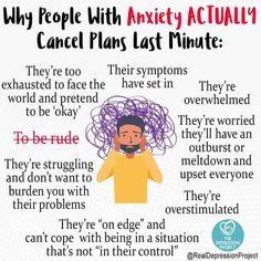 Why people with anxiety cancel Mental And Emotional Health, Mental Health Quotes, Mental Health Matters, Mental Health Issues, Health Anxiety, Anxiety Help, Social Anxiety, Stress And Anxiety, Mental Health
