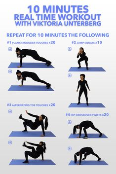 Follow along with thee 10 minute Real work out workouts from Viktoria Unterberg. Home based workouts perfect for women (or men) who don't have time to head to a gym but want to get a good workout it. 6 10 minute real time videos available now at Routinr! Adopt to your calendar today.