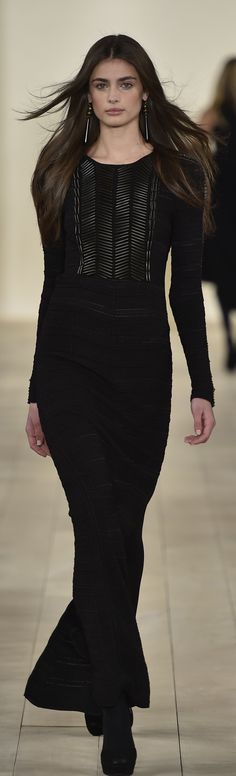 Ralph Lauren Collection Fall 2015 Ready-to-Wear: Black silk gown with beads