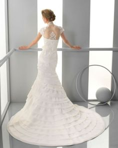 129 FERIA / Wedding Dresses / 2013 Collection / Alma Novia / Shown with cap sleeved Bolero (back)