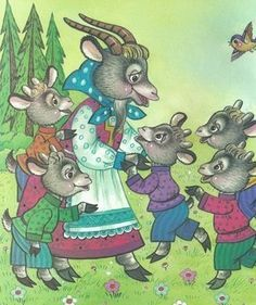 vsk11 Wolf, Goat Art, Classic Books, Conte, Childrens Books, Activities For Kids, Fairy Tales, Kindergarten, Preschool