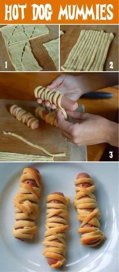 hot dog mummies  worstjes met bladerdeeg en ketchup of mosterd ogen