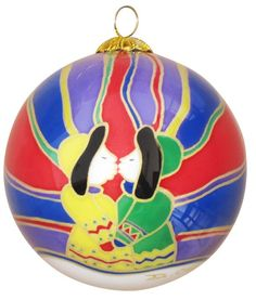 Dawn Oman Aurora Kiss Glass Ornament