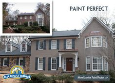before and after of brick home remodeling | house with painted brick before and after pictures