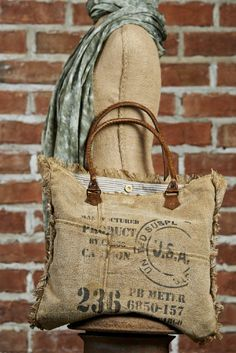 MONA B Vintage Ink Stamp Recycled Canvas small weekender purse bag tote NEW in Clothing, Shoes & Accessories Tote Purse, Tote Handbags, Burlap Bags, Fringe Bags, Boho Bags, Vintage Purses, Fabric Bags, Quilted Bag, Beautiful Bags