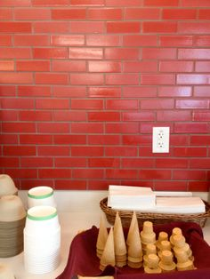 Tomato Red Debris Series in a Commercial Space at Fireclay Tile, www.fireclaytile.com