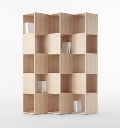 nendo: wooden fold shelf for conde house