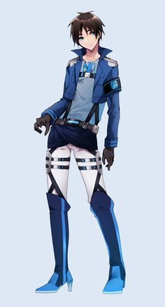 Blue themed attired