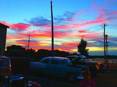 55 chevy sunset night