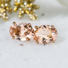 Natural Morganite Stud Earring,Push Post Gold Plated,Gift For Her, Tanzanite Earrings, Solitaire Earrings, Morganite Jewelry, Fine Jewelry, Women Jewelry, Sterling Silver Bracelets, Etsy Earrings, Natural Gemstones, Gifts For Her