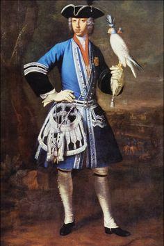 Portrait of Clemens August as Falconer by Peter Jakob Horemans (1700-1776)