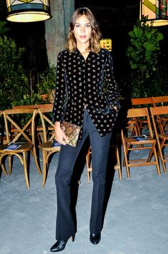 Printed Blouse + Tailored Trousers + Leather Boots