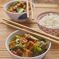 Vietnamese-style tofu with pak choi