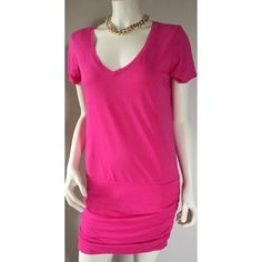 Michael stars v neck pink shirt mini dress M Soft and comfy! Feels like a soft lightweight tshirt material with stretch. Fruit punch pink color. I am a size 4/6 and it can fit bigger. Michael Stars Dresses Mini