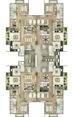 Residential Building Plan, Building Plans, House Plans Mansion, House Floor Plans, Home Design Plans, Plan Design, Architecture Plan, Residential Architecture, Hotel Floor Plan